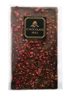 70% tmavá čokoláda s malinami a skořicí
